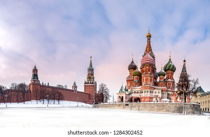 Moscow. Russia. The Red Square. Kremlin. Spasskaya Tower. Panorama of Moscow. Travel to Russia. Hours on Red Square. St Basil's Church. Center of Russia. Kremlin walls. Moscow in winter