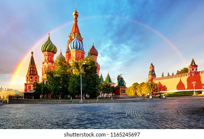 Moscow, Russia - Red square view of St. Basil's Cathedral with rainbow