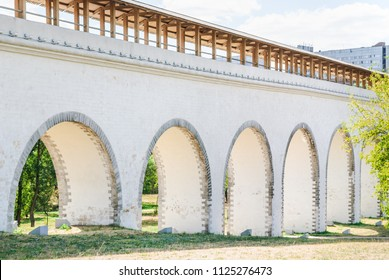 Moscow. Russia. Rostokino Aqueduct (Millionny Bridge). A stone aqueduct over Yauza river in Rostokino District, built in 1780-1804