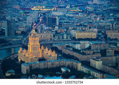 Moscow, Russia - Sep 2017: Aerial view from 93 level of Federation Tower at business City center of Moscow. Presnenskaya Naberezhnaya, evening time.