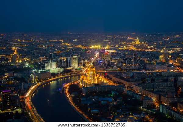 Moscow, Russia - Sep 2017: Aerial view from 93 level of Federation Tower at business City center of Moscow. Presnenskaya Naberezhnaya, night time.