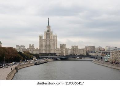 Moscow, Russia - Sep 24, 2018: Skyscraper on Kotelnicheskaya Embankment. Stalinist Empire style.