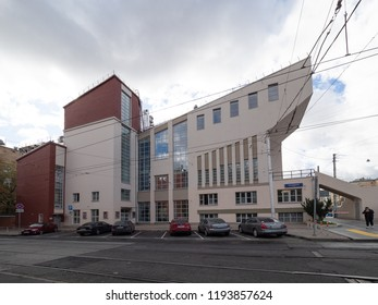 Moscow, Russia - Sep 27, 2018: Russian avant-garde (constructivism). Rusakov Workers' Club (1927-1929).