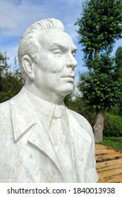 """MOSCOW, RUSSIA - Sept 11, 2012 Marble bust of Leonid Brezhnev in the Fallen Monument Park """"Muzeon"""" Sculpture created in 1981 by Russian folk artist Anatoliy Bichukov."""
