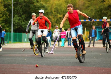 MOSCOW, RUSSIA - SEPT 12, 2015: Unicycle hockey