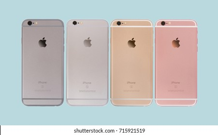 MOSCOW, RUSSIA - SEPT 15, 2017: Set of all colors iPhones 6 are smartphones developed by Apple Inc. Apple releases the new iPhone 6 and iPhone 6 Plus