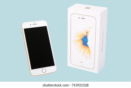 MOSCOW, RUSSIA - SEPT 15, 2017: Gold color iPhone 6 is a smartphone developed by Apple Inc. Apple releases the new iPhone 6 and iPhone 6 Plus