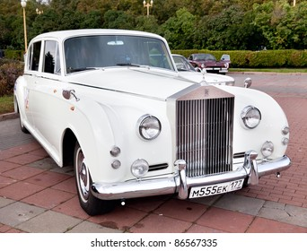 """MOSCOW, RUSSIA - SEPT 24: A 1952 Rolls-Royce Phantom V in the final stage of the competition for classic cars at the """"Closing  of the season Rally Retro Car"""" on September 24, 2011 in Moscow, Russia"""