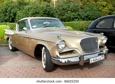 """MOSCOW, RUSSIA - SEPT 24: A 1957 Studebaker Golden Hawk in the final stage of the competition for classic cars at the """"Closing  of the season Rally Retro Car"""" on September 24, 2011 in Moscow, Russia"""