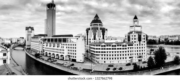 MOSCOW, RUSSIA - SEPT 27, 2016: Panoramic view to business center Riverside Towers at Shluzovaja Embankment of Vodotvodni Canal in Moscow, Russia on Sept 27, 2016.