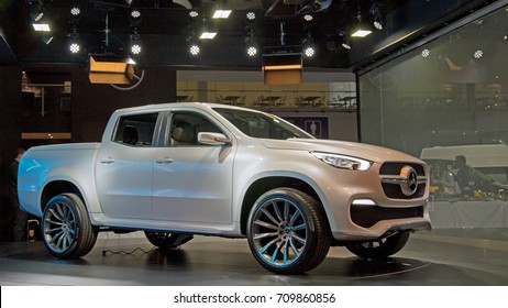 Moscow, Russia - Sept 4, 2017: New pick-up Mercedes-Benz X class at Comtrans 2017, Crocus expo, Moscow