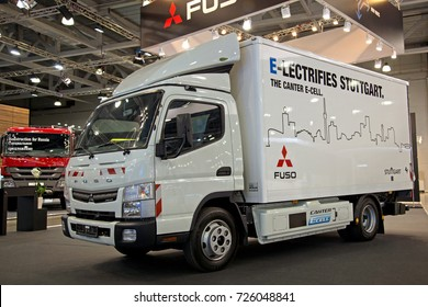 Moscow, Russia - Sept 4, 2017: Truck Mitsubishi Fuso Canter e-Cell at Comtrans 2017, Crocus expo, Moscow