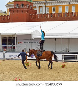 MOSCOW, RUSSIA - SEPT 6, 2015:Kremlin Equestrian School was created with aim to promote horse-riding sport as element of healthy life-style, revive spiritual heritage and support national traditions