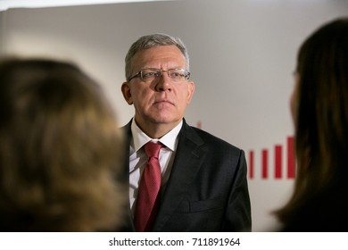 MOSCOW, RUSSIA - SEPT 8, 2017: The finance minister of the Russian Federation Alexei Kudrin at the Moscow Financial Forum