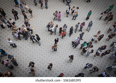 MOSCOW, RUSSIA - SEPTEMBER 01, 2011: Top view of students in a college recreation hall.