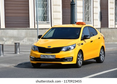 Moscow, Russia, September, 01, 2018. Yellow taxi on Varvarka street in Moscow