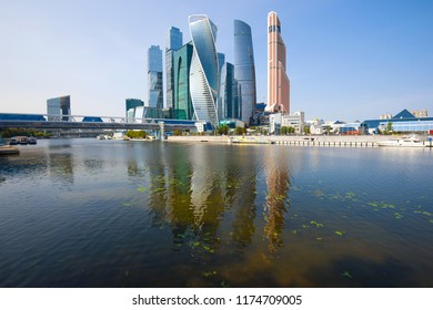 "MOSCOW, RUSSIA - SEPTEMBER 01, 2018: View of the modern high-rise complex ""Moscow City"" on a sunny September day"