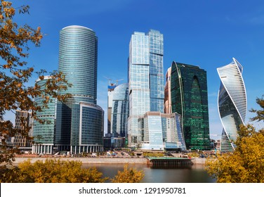 MOSCOW, RUSSIA - SEPTEMBER 01, 2018:View of the Moscow International Business Center from the quay of Taras Shevchenko, Moscow, Russia