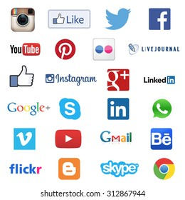MOSCOW, RUSSIA - SEPTEMBER 03, 2015: Set of most popular social media icons such as Facebook, Twitter, Skype, Instagram, Linkedin, WhatsApp, YouTube,  Google Plus, Pinterest printed on white paper