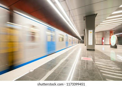 MOSCOW, RUSSIA - SEPTEMBER 05, 2018: Arriving train on the subway station Michurinskiy Prospect