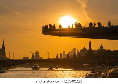 MOSCOW, RUSSIA - SEPTEMBER 05, 2018: The floating bridge in park Zaryadye in sunset