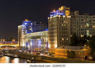 MOSCOW, RUSSIA - SEPTEMBER 06, 2014: Night view of the illuminated building Variety Theatre in Moscow on the waterfront. The historic building was built in 1931