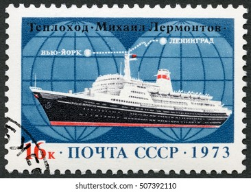 MOSCOW, RUSSIA - SEPTEMBER 06, 2016: A stamp printed in USSR shows MS Mikhail Lermontov ocean liner, route Leningrad to New York, 1973.