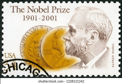 MOSCOW, RUSSIA - SEPTEMBER 09, 2018: A stamp printed in USA shows Alfred Bernhard Nobel (1833-1896), and Obverse of Medals, Nobel Prize Fund Established, 2001