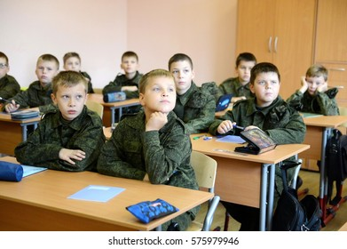 MOSCOW, RUSSIA - SEPTEMBER 1, 2014: A lesson in the First Moscow cadet corps.