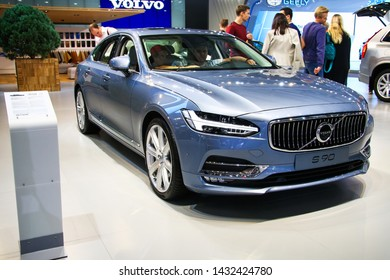 Moscow, Russia - September 1, 2016: Motor car Volvo S90 presented at the annual Moscow International Motor Show MIMS-2016.