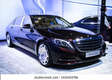 Moscow, Russia - September 1, 2016: Motor car Mercedes-Benz Maybach W222 S400 4Matic presented at the annual Moscow International Motor Show MIMS-2016.
