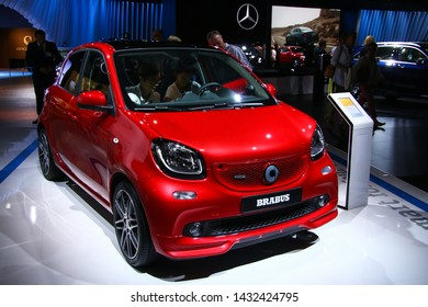 Moscow, Russia - September 1, 2016: Red motor car Smart W453 Forfour Brabus presented at the annual Moscow International Motor Show MIMS-2016.
