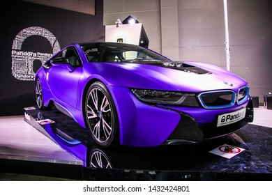 Moscow, Russia - September 1, 2016: Motor car BMW i8 (I12) presented at the annual Moscow International Motor Show MIMS-2016.
