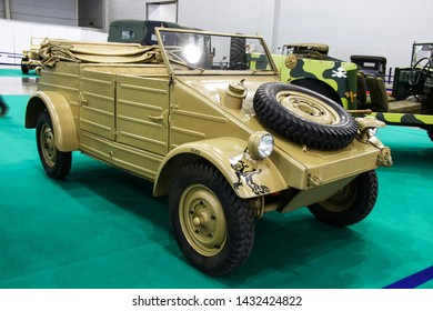 Moscow, Russia - September 1, 2016: Military vehicle Volkwagen Kuebelwagen Type 82 presented at the annual Moscow International Motor Show MIMS-2016.