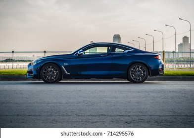MOSCOW, RUSSIA   SEPTEMBER 1, 2017 INFINITI Q60 Coupe Car, Front Side