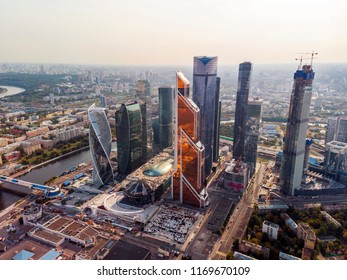 """Moscow, Russia - September 1, 2018: Business complex """"Moscow City"""" on a sunny autumn day. Shooted by a quadrocopter. Aerial view."""