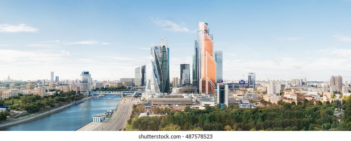 MOSCOW, RUSSIA - September 10, 2016. Large panorama view of Moscow City buildings, modern business office center on Moscow-river bank.
