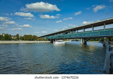 MOSCOW, RUSSIA - SEPTEMBER 10, 2017: Metro-bridge, Vorobyovy Gory station, Moscow, Russia. Vorobyovy Gory (Sparrow Hills) is a station of the Moscow Metro