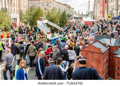 Moscow, RUSSIA - September 10, 2017: tourists and citizens walking on the street Tverskaya. Festivities in honor of the birthday of the 870th anniversary of Moscow