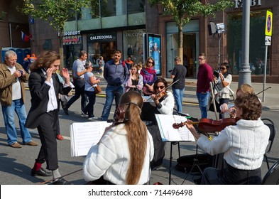 Moscow, Russia - September 10, 2017: Celebration of the city Day of Moscow (870 years) on Tverskaya street. Musicians playing symphonic music