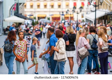 Moscow, Russia - September, 10, 2018: pedestrians on the Moscow street Kuznetsky most