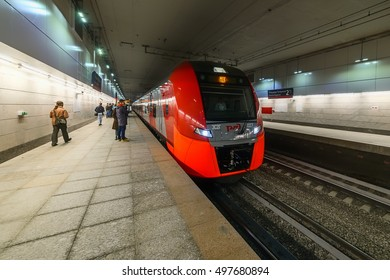 "MOSCOW, RUSSIA - SEPTEMBER 11, 2016: Moscow Central Circle Line ""Lastochka"" commuter train at the underground railway station Gagarins square. Opened to passengers on 10 September 2016"