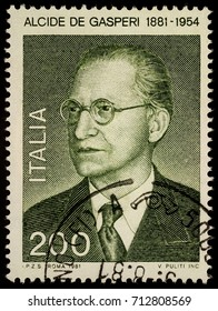 Moscow, Russia - September 11, 2017: A stamp printed in Italy shows Alcide de Gasperi (1881-1954), Italian statesman and politician, founder the Christian Democracy party, circa 1981
