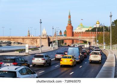 MOSCOW, RUSSIA - SEPTEMBER 11, 2017: morning road traffic on the Kremlin embankment street