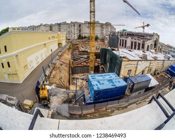 MOSCOW, RUSSIA - SEPTEMBER 11, 2018: Reconstruction of power station GES-2 to Academy of Modern Art with public library, bookstores, cafes, exhibition halls in Moscow, Russia on September 11, 2018.