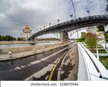 MOSCOW, RUSSIA - SEPTEMBER 11, 2018: Cathedral of Christ the Saviour and Patriarshy Bridge over Moskva River in Moscow, Russia on September 11, 2018.