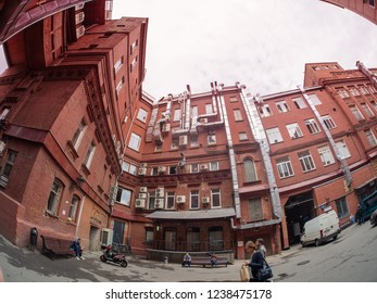 MOSCOW, RUSSIA - SEPTEMBER 11, 2018: Courtyard of former Krasnyy Oktyabr (Red October) confectionery factory building in Moscow, Russia on September 11, 2018.