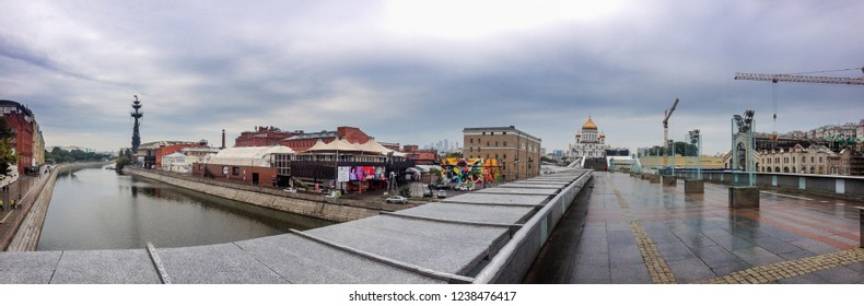 MOSCOW, RUSSIA - SEPTEMBER 11, 2018: Panoramic view to Patriarshy footbridge, Cathedral of Christ the Saviour, Vodootvodni canal and Peter Great monument on  September 11, 2018 in Moscow, Russia.