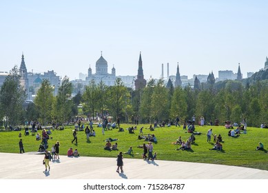 MOSCOW, RUSSIA - SEPTEMBER 12, 2017: Gorgeous view on Kremlin and Moscow city from new and modern Zaryadye park