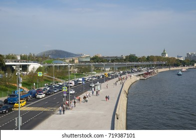 "Moscow, Russia - September 12, 2017:  View on Moscvoretskaya embankment and ""Floating bridge"" in landscape Park ""Zaryadye"""